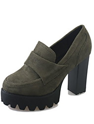 cheap -Women's Heels Chunky Heel Round Toe Suede Booties / Ankle Boots Winter Black / Army Green / Daily