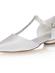 cheap -Women's Flats Flat Heel Pointed Toe Sparkling Glitter Satin Sweet / Minimalism Spring & Summer / Fall & Winter Ivory / Wedding / Party & Evening