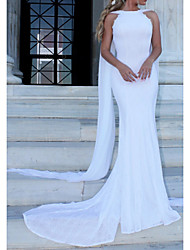 cheap -Sheath / Column Bateau Neck Sweep / Brush Train Polyester Regular Straps Made-To-Measure Wedding Dresses with 2020