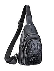 cheap -Men's Embossed Cowhide Sling Shoulder Bag Black / Coffee