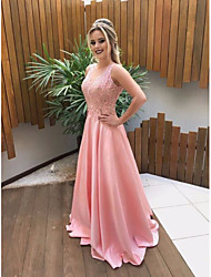 cheap -A-Line Jewel Neck Court Train Satin Cute / Elegant Prom Dress 2020 with Appliques