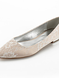 cheap -Women's Wedding Shoes Flat Heel Pointed Toe Wedding Flats Classic Sweet Wedding Party & Evening Lace Satin Flower Solid Colored White Champagne Ivory