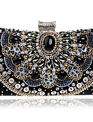 cheap -Women's Bags Polyester Alloy Evening Bag Crystals Beading Geometric Pattern Wedding Bags Wedding Party Event / Party Black