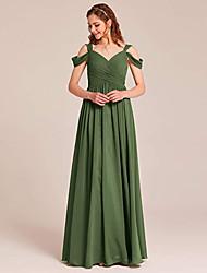 cheap -A-Line V Neck Floor Length Chiffon Bridesmaid Dress with Ruching / Pleats