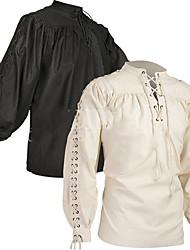 cheap -Plague Doctor Retro Vintage Medieval Renaissance Blouse / Shirt Masquerade Men's Cotton Costume Black / White Vintage Cosplay Party Halloween Long Sleeve