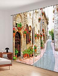 abordables -Petite ville rue impression numérique 3d rideau ombrage rideau haute précision noir tissu de soie rideau de haute qualité