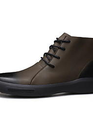 cheap -Men's Comfort Shoes Leather Fall & Winter Boots Booties / Ankle Boots Black / Khaki
