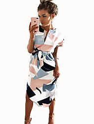 cheap -Women's White Dress Basic Casual / Daily A Line Geometric White Patchwork Print S M Loose