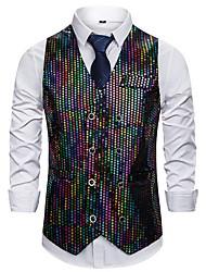 cheap -Men's Vest Shirt Collar Polyester Black