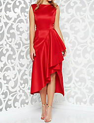 cheap -A-Line Jewel Neck Asymmetrical Satin Sleeveless Sexy / Plus Size Mother of the Bride Dress with Pleats 2020