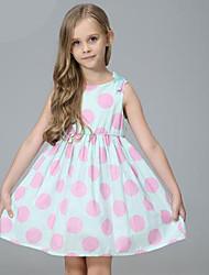 cheap -Kids Toddler Girls' Sweet Cute Polka Dot Solid Colored Sleeveless Knee-length Dress Light Green