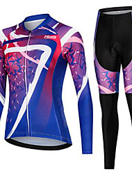 cheap -21Grams Women's Long Sleeve Cycling Jersey with Tights Winter Fleece Violet Sugar Skull Skull Bike Clothing Suit Ultraviolet Resistant Quick Dry Breathable Back Pocket Sports Sugar Skull Mountain