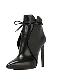 cheap -Women's Boots Stiletto Heel Pointed Toe Faux Leather Booties / Ankle Boots Classic Fall & Winter Black