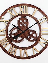 Недорогие -Современный современный деревянный Круглый Батарея Украшение Настенные часы Дерево Нет
