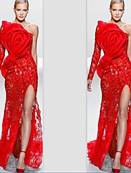 cheap -A-Line One Shoulder Sweep / Brush Train Lace Elegant Formal Evening Dress with Split Front / Lace Insert 2020