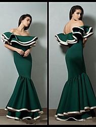 cheap -Mermaid / Trumpet Off Shoulder Floor Length Satin Elegant Formal Evening Dress with Cascading Ruffles 2020