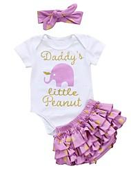 cheap -Baby Girls' Casual / Active Print Print Short Sleeve Long Clothing Set Purple
