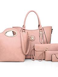 cheap -Women's Crystals PU Bag Set Solid Color 5 Pieces Purse Set Black / Brown / Dark Brown