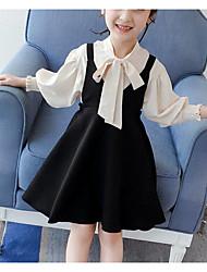 cheap -Kids Toddler Girls' Basic Chinoiserie Daily Wear Festival Solid Colored Bow Long Sleeve Regular Regular Suit & Blazer White