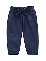 abordables -bébé Fille Actif / Basique Couleur Pleine Noeud Pantalons Bleu