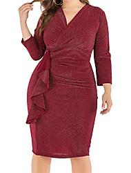 cheap -Women's Bodycon Dress - Solid Colored Black Wine XL XXL XXXL XXXXL