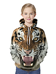 cheap -Kids Girls' Active Basic Tiger Geometric Color Block 3D Print Long Sleeve Hoodie & Sweatshirt Brown / Animal