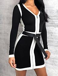 cheap -Women's Elegant Sheath Dress - Color Block Black White S M L