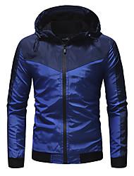 abordables -Homme Quotidien / Sports Automne hiver Normal Veste, Bloc de Couleur Capuche Manches Longues Polyester Noir / Bleu Roi