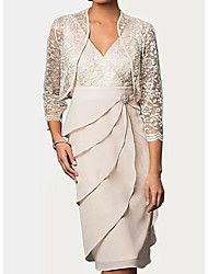 cheap -Sheath / Column Plunging Neck Knee Length Chiffon Sleeveless Wrap Included Mother of the Bride Dress with Lace / Tier / Crystal Brooch 2020