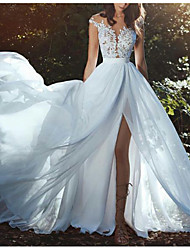 cheap -A-Line V Neck Floor Length Chiffon Cap Sleeve Made-To-Measure Wedding Dresses with Appliques / Split Front 2020