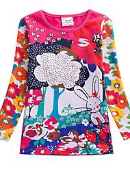 cheap -Kids Girls' Active Basic Easter Sun Flower Rabbit Rose Floral Color Block Print Long Sleeve Tee Fuchsia