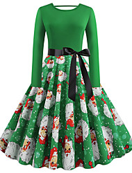 cheap -Women's Plus Size Christmas Christmas Gifts Party Vintage Street chic Sheath Dress - Floral Solid Colored Pleated Print Halter Neck Black Blue Green M L XL XXL