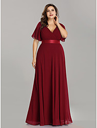 cheap -A-Line Mother of the Bride Dress Elegant Plus Size V Neck Floor Length Chiffon Short Sleeve with Sash / Ribbon Ruching 2020 / Petal Sleeve