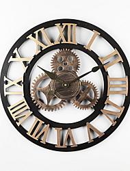 Недорогие -европейский Нержавеющая сталь Круглый Батарея Украшение Настенные часы Сталь Нет