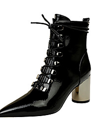 cheap -Women's Boots Chunky Heel Pointed Toe Vintage Minimalism Party & Evening Lace-up Solid Colored PU Booties / Ankle Boots Black / Khaki