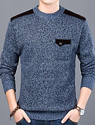 cheap -Men's Solid Colored Pullover Long Sleeve Sweater Cardigans Round Neck Blue Light gray Dark Gray