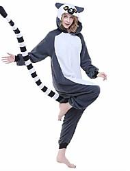 cheap -Adults' Kigurumi Pajamas Monkey Lemur Animal Onesie Pajamas Polar Fleece Synthetic Fiber Gray Cosplay For Men and Women Animal Sleepwear Cartoon Festival / Holiday Costumes