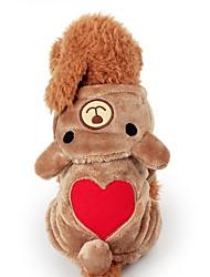 Недорогие -Собаки Комбинезоны Зима Одежда для собак Хаки Костюм Полиэстер С сердцем Однотонный Косплей Рождество XS S M L XL