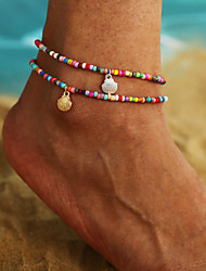 cheap -Women's Ankle Bracelet Fancy Shell European Colorful Anklet Jewelry Gold / Silver For Holiday Traveling Festival