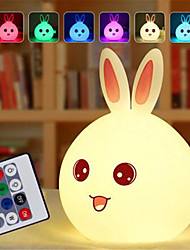 cheap -Dozzlor Cartoon Rabbit LED Night Light Remote Touch Sensor Colorful USB Silicone Bunny Bedside Lamp For Children Kids Baby