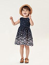 cheap -Kids Toddler Girls' Sweet Cute Polka Dot Solid Colored Sleeveless Knee-length Dress Navy Blue