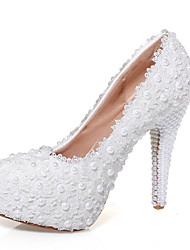 cheap -Women's Wedding Shoes Stiletto Heel Round Toe Beading PU Sweet / Minimalism Spring &  Fall White / Party & Evening