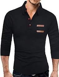 cheap -Men's Solid Colored Long Sleeve Pullover Sweater Jumper, Shirt Collar Black / Dark Gray L / XL / XXL