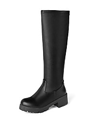 cheap -Women's Boots Chunky Heel Round Toe PU Knee High Boots Casual / Preppy Fall & Winter Black / White