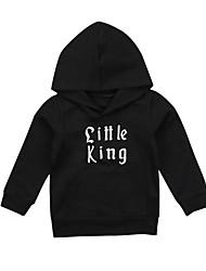cheap -Baby Boys' Active / Basic Black / White Print / Solid Colored Long Sleeve Hoodie & Sweatshirt Black
