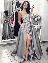 cheap -A-Line One Shoulder Sweep / Brush Train Satin Elegant Prom Dress with Appliques / Sash / Ribbon / Split Front 2020