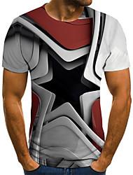abordables -Tee-shirt Taille EU / US Homme, Bloc de Couleur / 3D / Tribal Imprimé Soirée Chic de Rue / Punk & Gothique Col Arrondi Gris / Manches Courtes