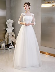 cheap -A-Line Jewel Neck Floor Length Tulle 3/4 Length Sleeve Beautiful Back Made-To-Measure Wedding Dresses with Lace 2020