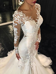cheap -Mermaid / Trumpet V Neck Sweep / Brush Train Tulle Long Sleeve Made-To-Measure Wedding Dresses with Lace Insert 2020