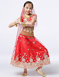 cheap -Belly Dance Outfits Girls' Training / Performance Mesh / Chiffon / Polyester Taffeta Scattered Bead Floral Motif Style / Split Joint / Paillette Short Sleeve Natural Skirts